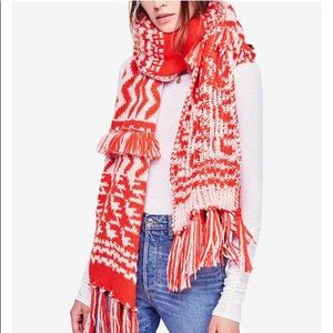 NEW Free People Mile High Fleece Fringe Scarf Red